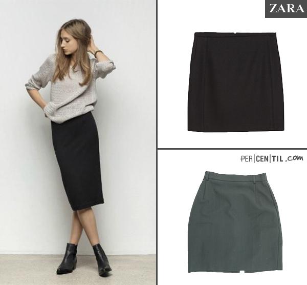 2b805253fc blog faldas tubo. Fuente  Zara y PERCENTIL. La falda midi ...